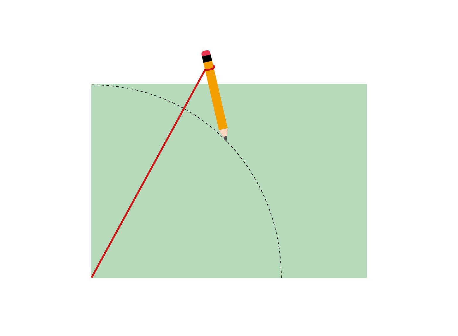 Schritt 1: Nehmen Sie ein Stück Schnur, welches so lang ist, wie du kurze Seite Ihres Pappbogens. Binden Sie an das eine Ende Ihren Bleistift, das andere Ende halten Sie an die untere Ecke der Pappe. Halten Sie die Schnur auf Spannung und zeichnen einmal von der einen zur anderen Kante.