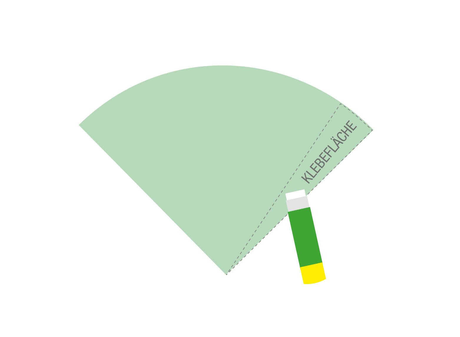 Schritt 3: Tragen Sie an der langen Seite der Form einen starken Kleber auf. Achten Sie darauf, dass der Klebestreifen nicht zu breit wird, sonst wird der Kegel später sehr dünn.