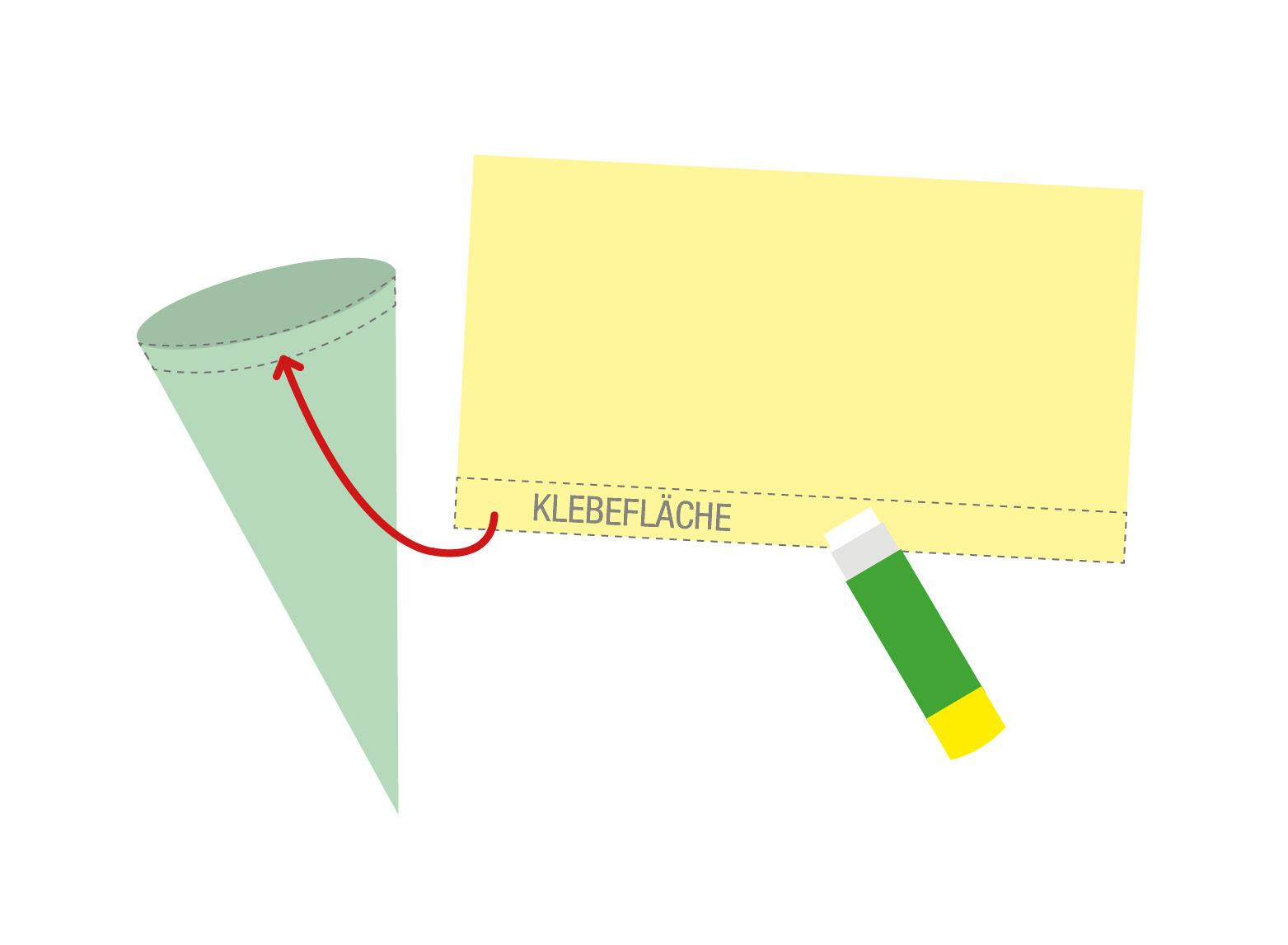 Schritt 5: Nehmen Sie Krepppapier oder Stoff zur Hand. Das Stück kann gerne etwas Länger sein, als die obere Kante des Kegels. So bleibt später keine Öffnung. Tragen Sie an der unteren, langen Kante Kleber auf und befestigen den Stoff entweder von außen oder von innen am Rand des Kegels.