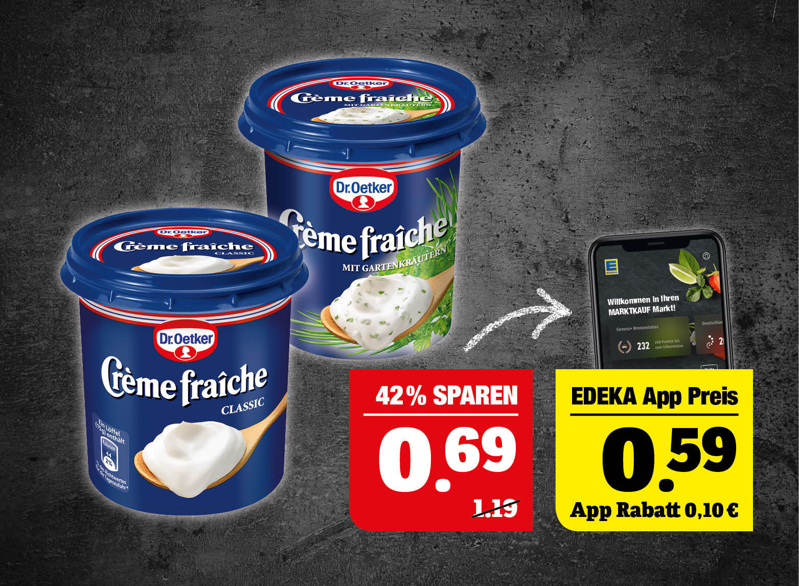 Dr. Oetker Crème fraîche - verschiedene Sorten, 125/150g Becher, 100g=0,55/0,46.