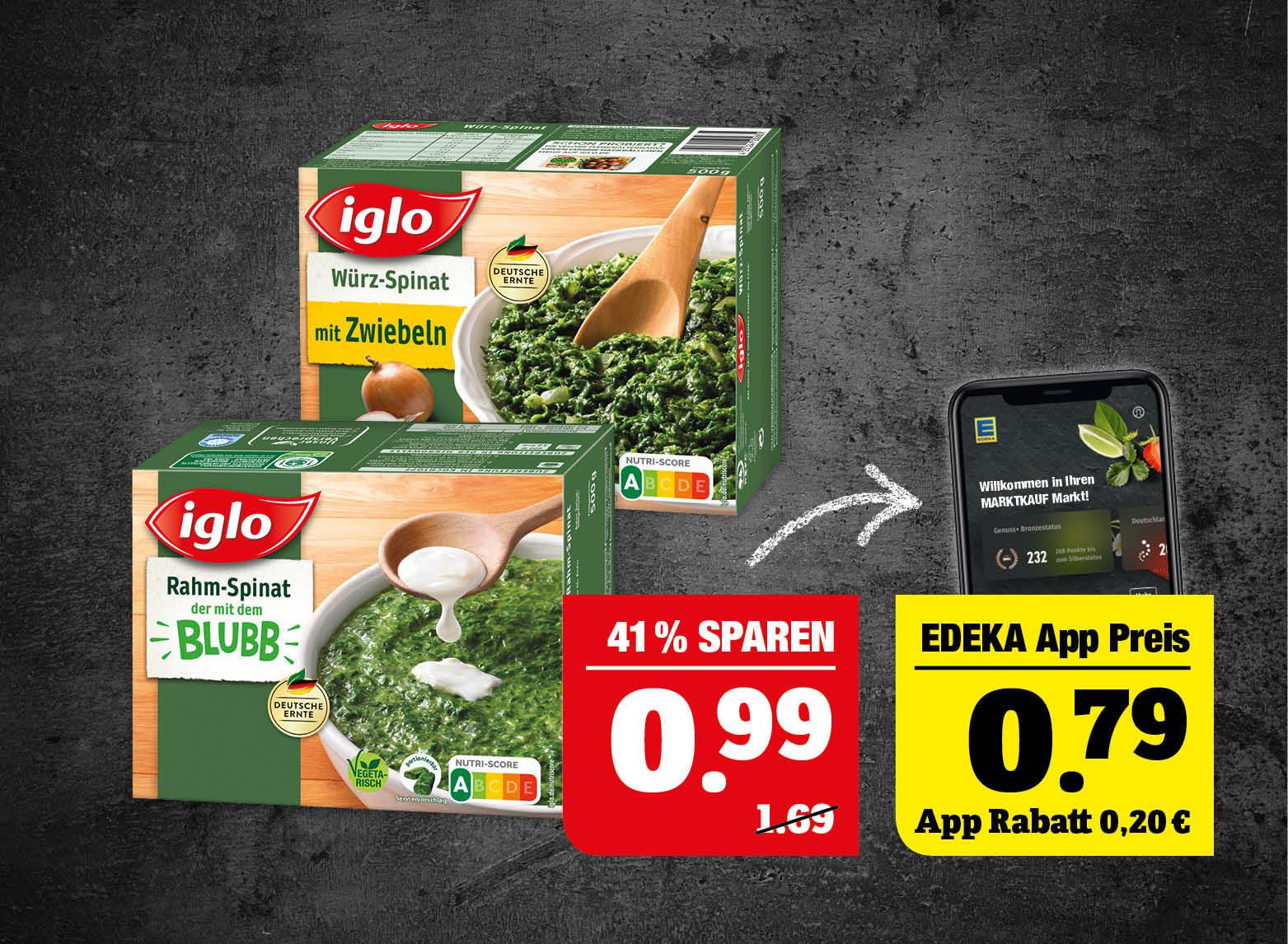 iglo Spinat - verschiedene Sorten oder Blubb Sticks - tiefgefroren, 284-750g Packung, 1kg=1,32-3,49. Ausgenommen Rahm-Spinat. Laktosefrei und Spinat mit Alpro Soya 550g.