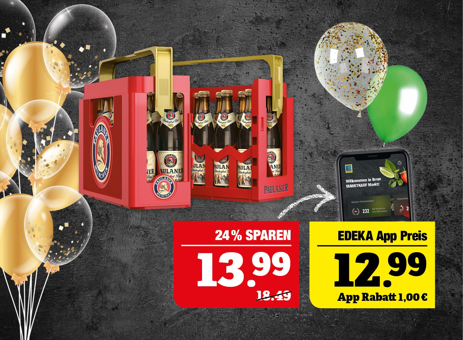 Paulaner Oktoberfest Bier - 20x0,5Liter Kasten; +3,10Pfand; 1l=1,40; Je nach Verfügbarkeit des Marktes.