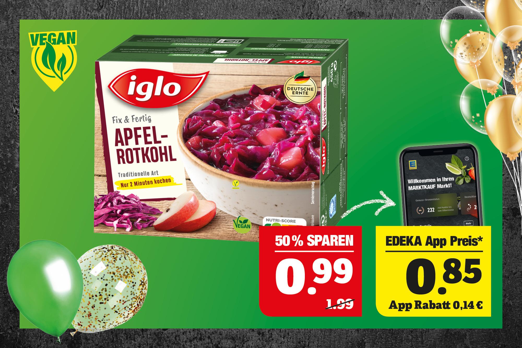 iglo Apfel-Rotkohl - Traditionelle Art; vegan; tiefgefroren; 450g Packung; 1kg=2,20.
