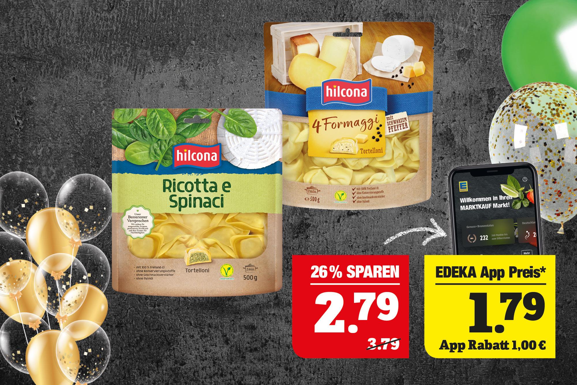 hilcona  Tortelloni - verschiedene Sorten; 500g Packung; 1kg=5,58.
