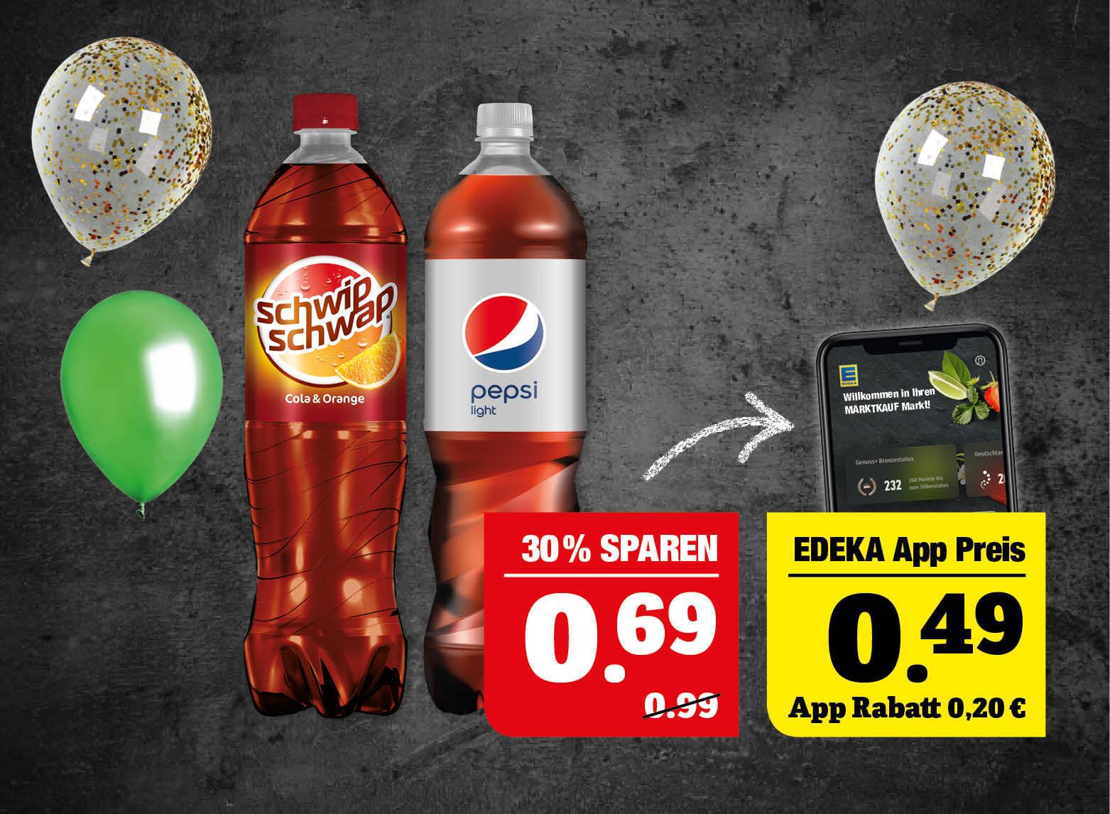 schwip schwap*, pepsi* - verschiedene Sorten. mirinda oder 7up - 1,5Liter Flasche +0,25Pfand, 1l=0,46. *koffeinhaltige Limonade.