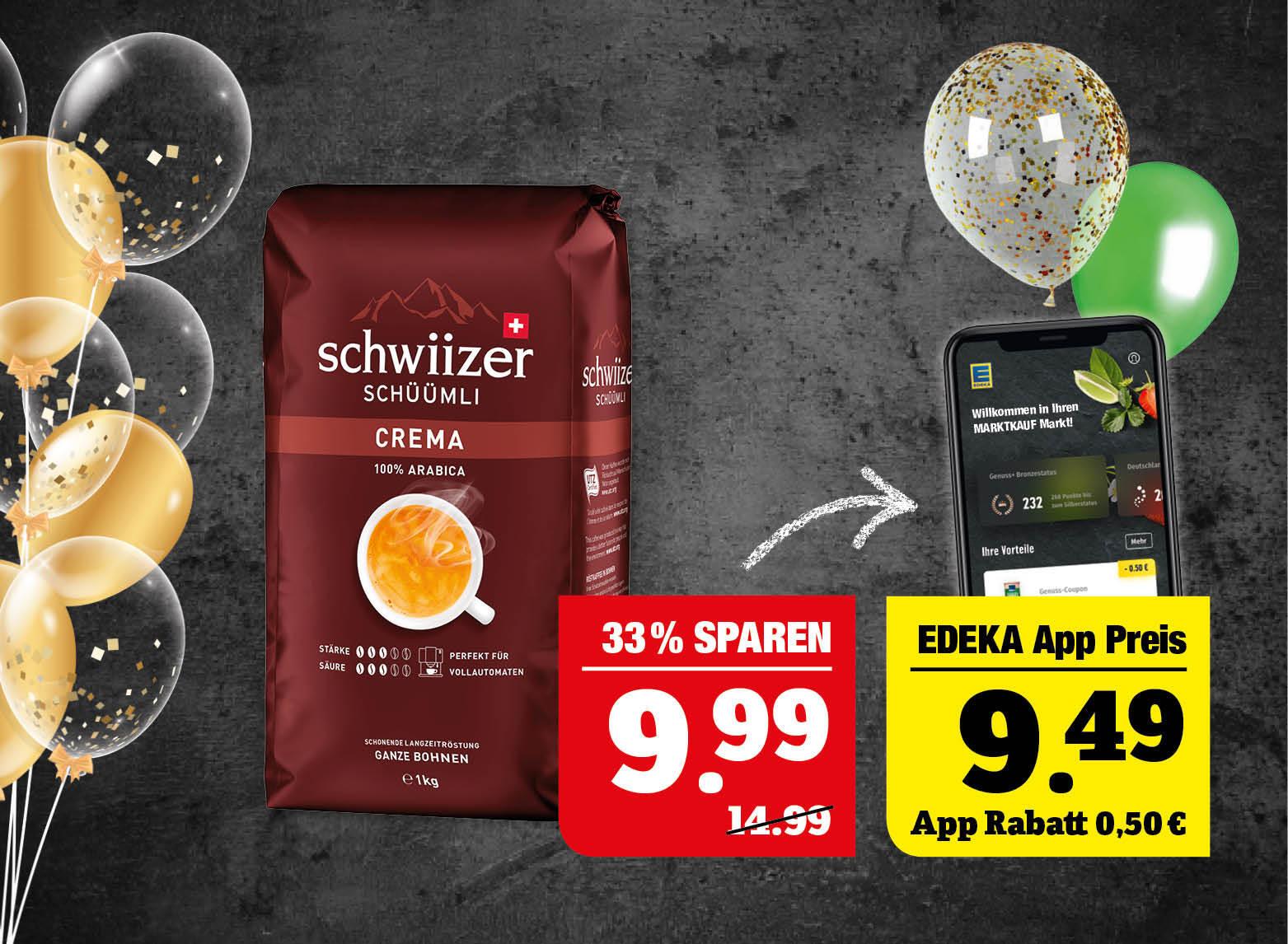 schwiizer Schüümli - ganze Bohnen, 1kg Packung. 