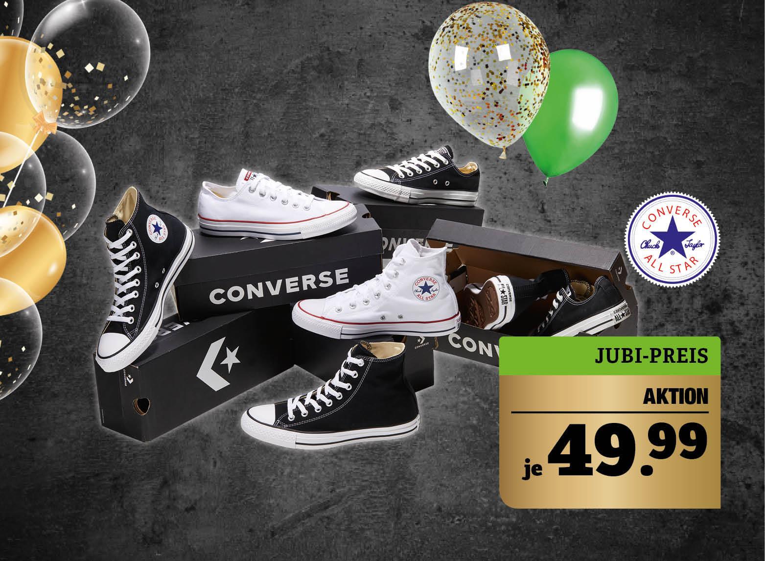 Converse Chucks - In verschiedenen Größen und Farben. Low: UVP* 65,- €. Unser Preis: 49,99€. Sie sparen 23%. High: UVP* 70,- €. Unser Preis: 49,99€. Sie sparen 28%.