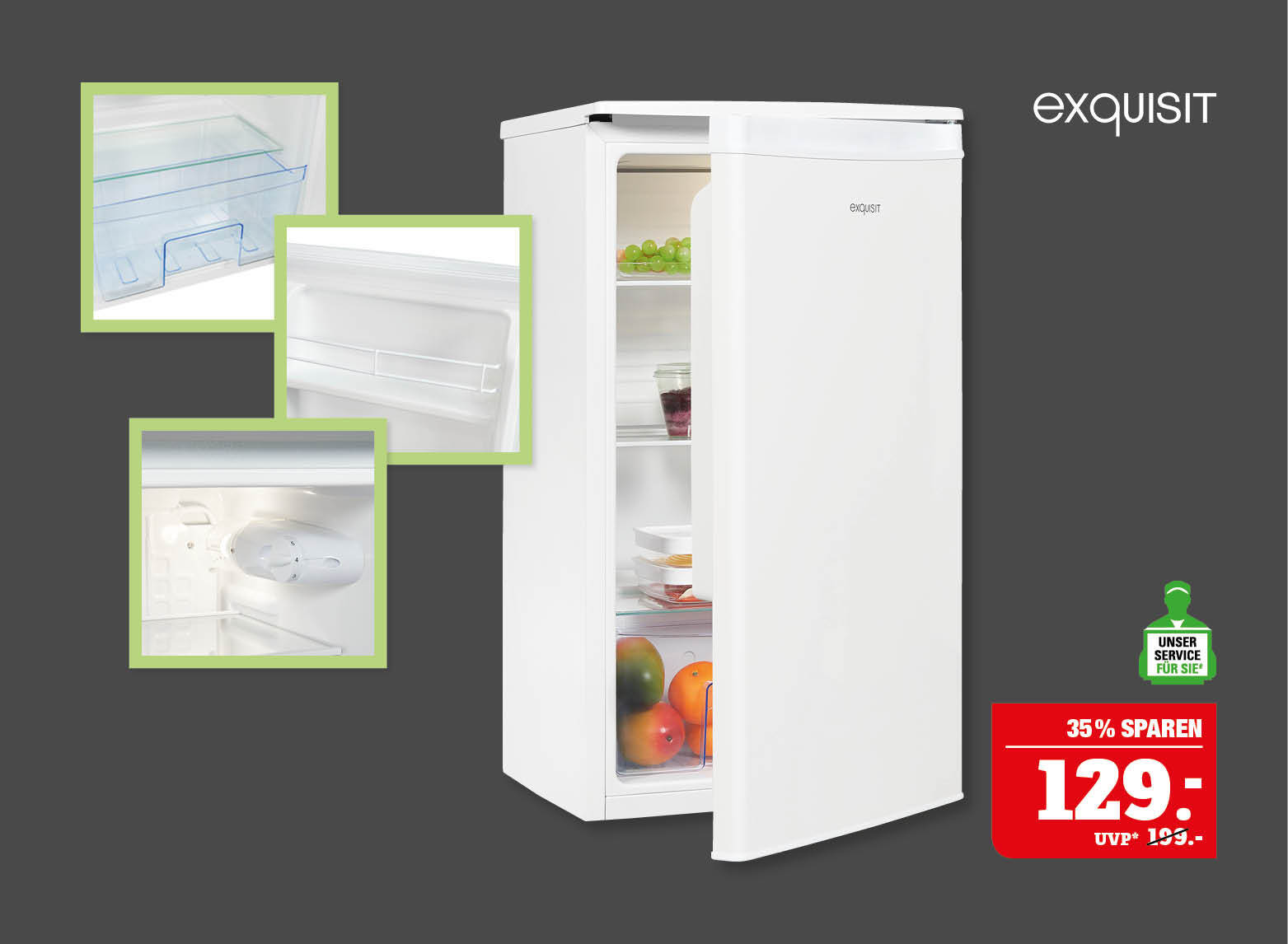 exquisit Vollraum-Kühlschrank Nutzinhalt: ca.82Liter. Innenbeleuchtung, Temperaturregelung, 3 Glasablagen – davon 2 verstellbar, 2 Türablagen davon 1 Flaschenregal. Energieeffizienzklasse F (Skala A bis G).