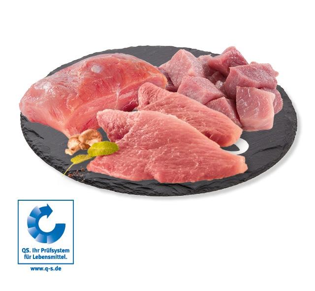 Schweineschnitzel, <br /> Schlegelbraten oder Schweinegulasch