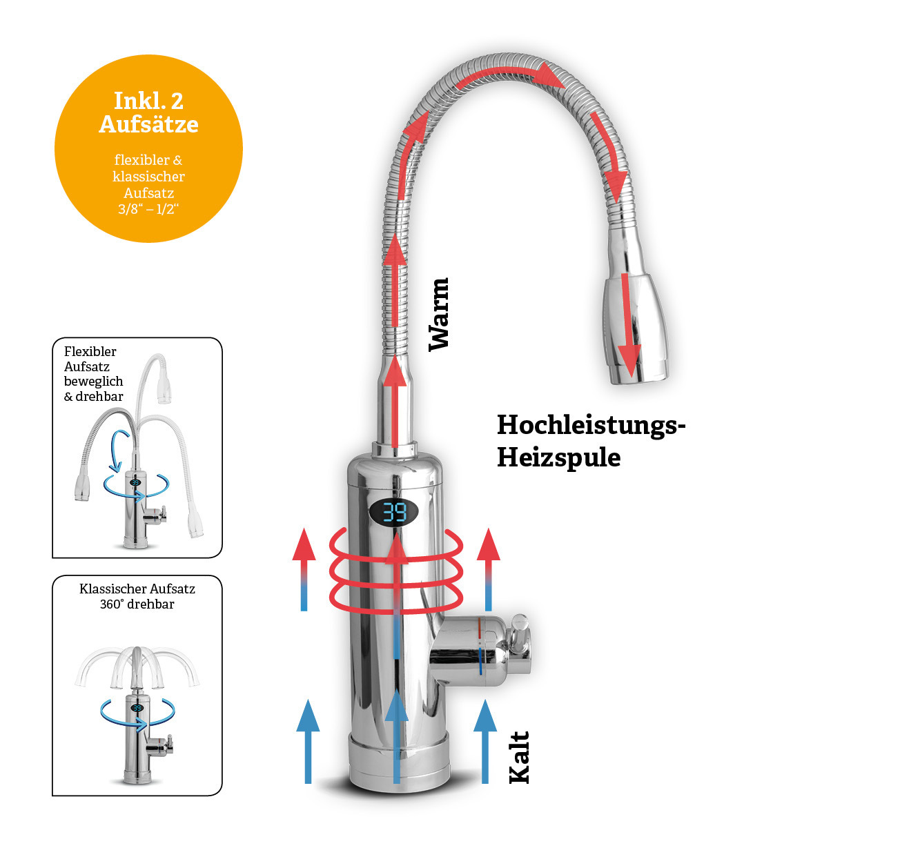 Aquadon Smart Heater Armatur mit integriertem Durchlauferhitzer